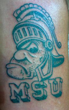 Michigan State Sparty tattoo. Go green !!!