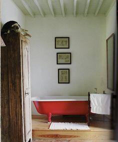 Red tub: Home is: a clawfoot bathtub   one day i will have a bathroom with a clawfoot bathtunb