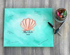 Beach Wedding Guest Book Alternative, Hand Painted / Seashell Guestbook Canvas / Seashell Painting / Summer Wedding Unique Guestbook Idea  #beachwedding #guestbook #summerwedding