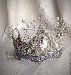 """Купить Корона для принцессы """"Зимушка-зима"""" из бисера - серебряный, корона, корона для принцессы, корона для фотосессии"""