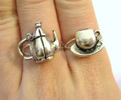 Teacup Rings Mother Daughter Matching Set by SpotLightJewelry Mother Daughter Rings, Best Friend Rings, Matching Rings, Matching Set, The Bling Ring, My Cup Of Tea, Tea Time, Henna, Tea Pots