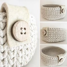Catch Cute & Simple Designs of Crochet for Beginners - Diy Crafty Diy Crochet Basket, Crochet Basket Pattern, Easy Crochet Patterns, Crochet Designs, Knitting Patterns, Crochet Basket Tutorial, Crochet Home Decor, Crochet Crafts, Crochet Projects