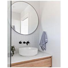 Bathroom Renos, Laundry In Bathroom, Bathroom Layout, Modern Bathroom Design, Bathroom Interior Design, Bathroom Furniture, Small Bathroom, Round Bathroom Mirror, Bathroom Goals