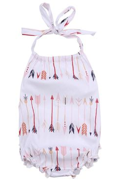 NEW Baby Girl Summer Arrow Print Romper super cute infamt baby girl outfit from Mommy Glow Boutique