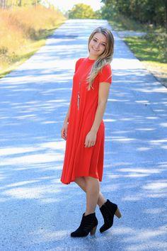 The Rebekah Midi Dress-Lipstick Red
