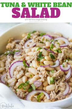 Tuna White Bean Salad with Red Wine vinegar dressing, no mayo! It's packed full of protein and contains, tuna, white beans and fresh parsley. Lunch Recipes, Seafood Recipes, Salad Recipes, Cooking Recipes, Healthy Recipes, Diet Recipes, Frugal Recipes, Healthy Foods, Family Recipes