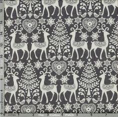 Makower Fabric: Scandi 3, Reindeer on Grey (per 1/4 metre)