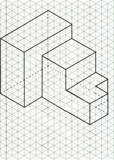 Isometric paper and drawing on it -- with PSTricks Isometric Paper, Isometric Grid, Isometric Drawing, Isometric Design, Orthographic Drawing, Zentangle, Printable Graph Paper, Drawings Pinterest, Steam Art