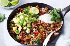 One-pot healthy Mexican beef mince This quick and easy Mexican rice, capsicum and healthy beef mince dish topped with sour cream and avocado is the perfect weeknight dinner. Meat Recipes, Mexican Food Recipes, Cooking Recipes, Healthy Recipes, Healthy Dinners, Vegetable Recipes, Mince Dishes, Avocado, Beef Recipes