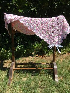 Hand crocheted variegated pink, green, lavender and white baby afghan by RobinsJoyCreations on Etsy
