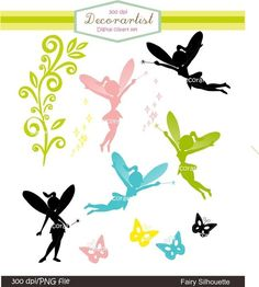 Silhouette clip art fairy silhouette by decorartist on Etsy, $4.80: