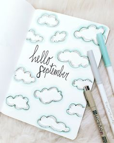 Cloudy September Cover Page September Cloud Themed Cover Page Was So Much Fun To Create Read More About The Inspiration Behind This Design And The Tools I Used Bujo Bulletjournal Planner Art Doodle Crayola Sketch Clouds September Bullet Journal School, Bullet Journal Cover Ideas, Bullet Journal Banner, Bullet Journal Writing, Bullet Journal Aesthetic, Bullet Journal Layout, Journal Covers, Bullet Journal Inspiration, Bullet Journal September Cover