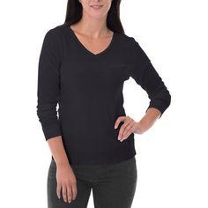 Fruit of the Loom Women's Waffle Thermal Underwear V-Neck Top, Size: Small, Black