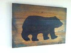 Large Rustic Black Bear on Wood  Hand Painted by TuckersMercantile, $42.95