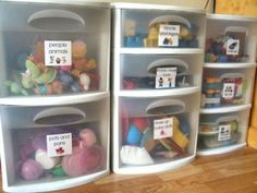 Need to get these drawers and label toy storage for RV and for playroom closet Organizing Labels, Organizing Toys, Organizing Ideas, Kid Toy Storage, Doll Storage, Playroom Storage, Kids Room Organization, Playroom Decor, Playroom Closet