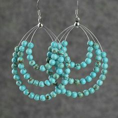 Turquoise big tear drop hoop earrings handmade Free US Shipping anni designs personalize Wire Jewelry, Jewelry Crafts, Beaded Jewelry, Jewelery, Jewellery Box, Silver Jewelry, Silver Earrings, Jewellery Shops, Etsy Jewelry