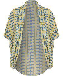 Yellow Geometric Print Chiffon Cocoon Style Kimono Print Chiffon, Kimono, Yellow, Womens Fashion, Sweaters, Style, Swag, Women's Fashion, Sweater
