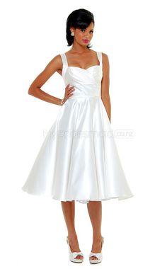 White Satin Tea Length Vintage Bridesmaid Dress(NZBD06922) - MyBridesmaid.co.nz