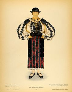 1937 Costume Romanian Peasant Woman Hat Muscel Print - ORIGINAL