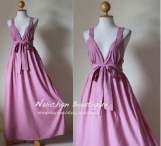Pink Long Dress Maxi Elegant Vstyled Neck  Love Party by Nuichan, $59.00