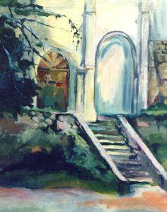 Stary obraz olejny, przedstawiający ruiny zamku.