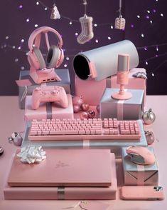 Gamer Setup, Gaming Room Setup, Computer Setup, Cool Gaming Setups, My New Room, My Room, Girl Room, Cute Room Decor, Dorms Decor