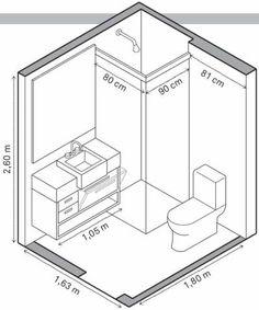 Banheiro 1 – 2,93 m²: Para não atrapalhar a abertura da porta, a dupla usou uma bancada de Silestone estreita (Costaneira), de 40 cm, com uma cuba de semiencaixe (Deca). No gabinete (Primeira Linha), a porta basculante libera mais espaço interno. Boxe da Vidros Regina.