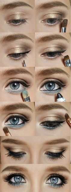 smokey eyes for blue eyes. I did this today, and literally got stopped twice once at a restaurant and a school event  by women praising my makeup skills. That's right. I got skillz