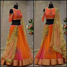 Beautiful lehenga and cold shoulder blouse from Teja team.TS 2H7-201 - MAYAvailableFor orders/queriesCall/whats app  on8341382382 orMail  tejasarees@yahoo.com. 07 May 2017 Half Saree Lehenga, Lehenga Style, Lehenga Blouse, Bridal Lehenga Choli, Saree Dress, Anarkali, Ghagra Choli, Half Saree Designs, Choli Designs