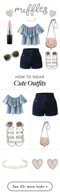 """""""Cute ruffle outfit"""" by nicole-sims on Polyvore featuring New Look, WithChic, Jennifer Fisher, LE3NO, Chloé and MAC Cosmetics"""