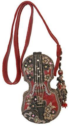 Floral Violin Handbag by Mary Frances