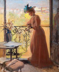 Albert Edelfelt: Nainen parvekkeella, La Parisienne. Öljy kankaalle, ei signeerausta, 72x58 cm, 1884.