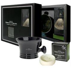 Edwin Jagger Shaving Gift Set in Black with Best Badger Brush