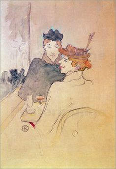 Toulouse-Lautrec – Two women sitting in cafe - Henri de Toulousse LautrecFrench Henri De Toulouse Lautrec, Art Nouveau, Vintage Artwork, French Art, Drawing People, Watercolor And Ink, Cool Artwork, Sculpture, Art Museum