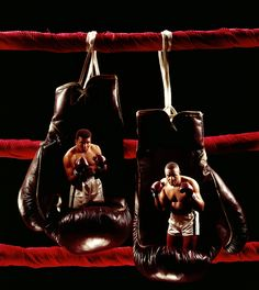 Dye transfer of Muhammad Ali and Sonny Liston's portraits on boxing gloves before their 1965 World Heavyweight Title Fight.  United States, Spring of 1965