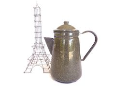 Enamelled grey textured teapot coffee by LeGrenierDeFrancine