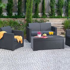 Atlantic St.Croix 6 pc Grey Synthetic Wicker Patio Seating Set with ...