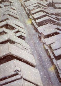 Snowing Town   -  Kaii Higashiyama   Japanese  1908-1999