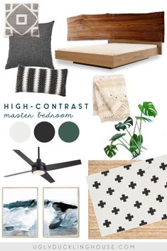 high contrast master bedroom mood board design inspiration - black and white pillows, moroccan influence, live edge wood headboard, abstract art