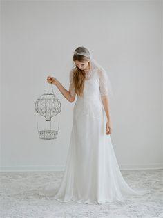 Simple lace and chiffon half sleeve wedding dress