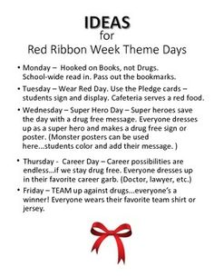 Red-Ribbon-Week-2015-2046786 Teaching Resources - TeachersPayTeachers.com Elementary School Counseling, School Counselor, Elementary Schools, Super Hero Day, Twin Day, Red Ribbon Week, Dress Up Day, Free Message, Counseling Activities