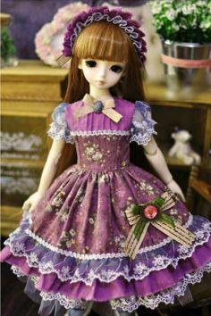 1 4 BJD MSD Girl Doll Lavender Color Flowers Dress Outfits Super Dollfie LUTS | eBay