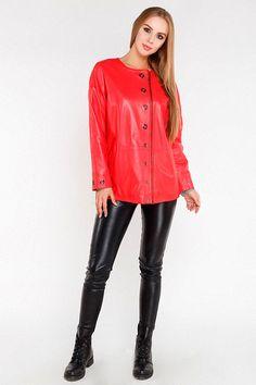 Куртка женская из натуральной кожи красная, модель 381-70 Red Leather, Leather Pants, Versace Jacket, Pajamas, Suits, Model, Jackets, Clothes, Color