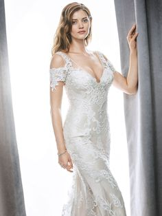 Kenneth Winston Style 1706 | stunning embroidered lace wedding gown with shoulder cut-outs and illusion back  | luxurious bridal gown