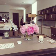 Snapshot from my desk- thank you @thewhitecompany for my summer candle and @wildwoodlondon for my pink peonies, they're both helping me thro...