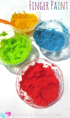 Easy to make finger paint that is safe for even the tiniest tots potato flakes and water