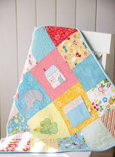 Adorable baby quilt from Made for Baby book. kristinesser.com