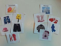 seasonal clothing sorting cards. Laminate and use on magnetic white board.