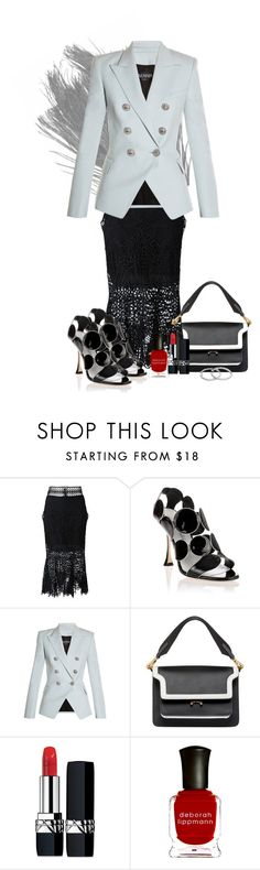"""Polished Professional"" by flippintickledinc ❤ liked on Polyvore featuring Jonathan Simkhai, Manolo Blahnik, Balmain, Marni, Christian Dior and Deborah Lippmann"