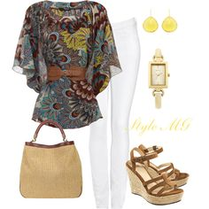 Peacock Paisley Top Look #2 by romigr99 on Polyvore featuring Jane Norman, Acne Studios, UGG Australia, Yves Saint Laurent, Oasis, Coralia Leets, white jeans, wedge sandals and kimono top
